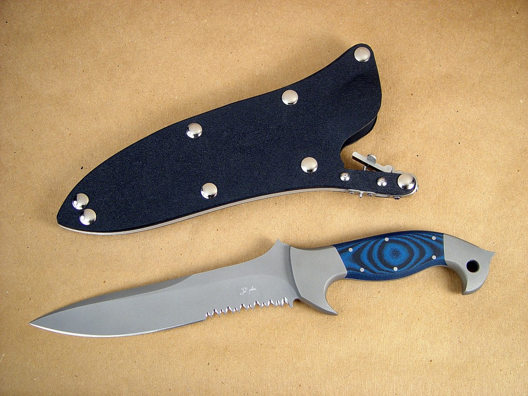 """Anzu"" obverse side view; Tactical knife in bead blasted 440c stainless steel blade, 304 stainless steel bolsters, G10 epoxy-fiberglass laminate handle, locking kydex, aluminum, stainless steel combat sheath"