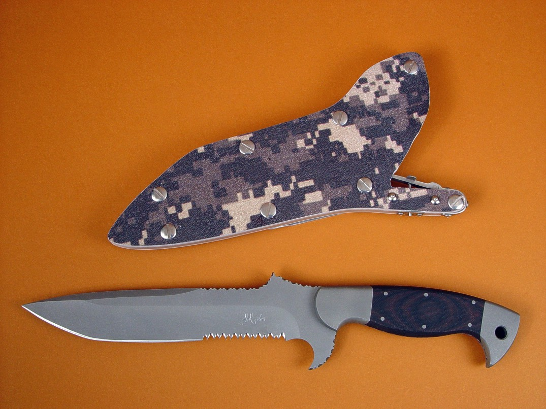 """Arabah"" tactical, combat, survival knife in ATS-34 high molybdenum stainless steel blade, 304 stainless steel bolsters, red/black G10 composite handle, desert digital camouflage kydex, aluminum, stainless steel locking sheath"
