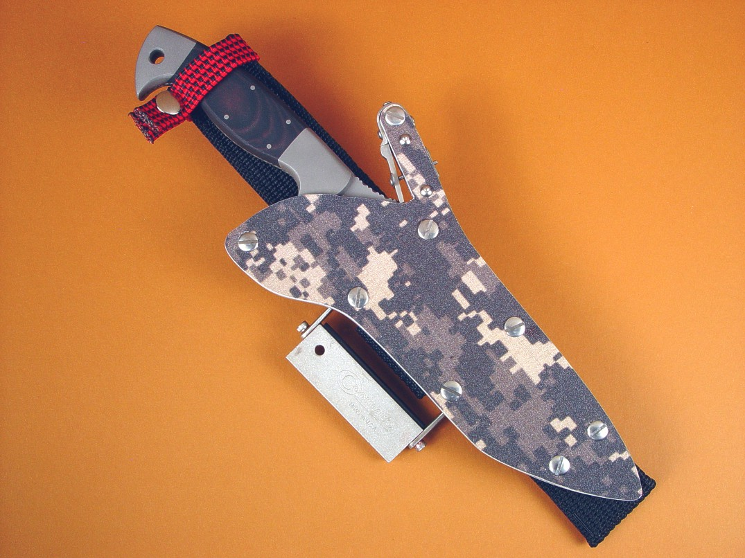"""Arabah"" in locking digital Camo kydex sheath with tactical combat survival accessories"