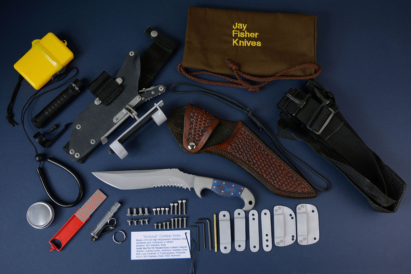 """Arcturus"" Tactical Combat, Counterterrorism Survival, CSAR knife, obverse side view with complete accessory package for widest variety of wear options"