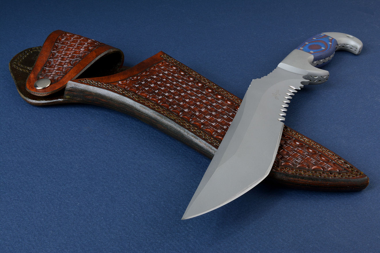 """Arcturus"" obverse side view in ATS-34 high molybdenum stainless steel blade, 304 stainless steel bolsters, Red/Blue G10 fiberglass/epoxy composite laminate handle, locking kydex sheath with leather sheath and complete accessory package"