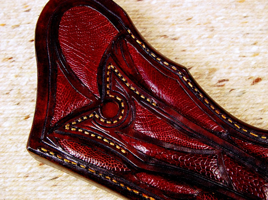 "Burgundy Ostrich leg skin inlay in carved leather sheath for ""Argiope"" knife"