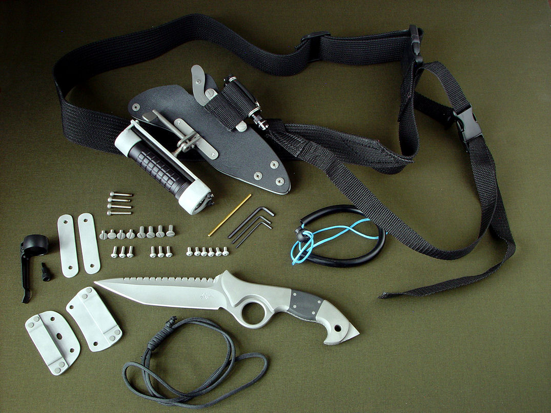 """Ari"" IDF YAMAM tactical combat, counter-terrorism knife with accessory package, fasteners, hardware and tools"