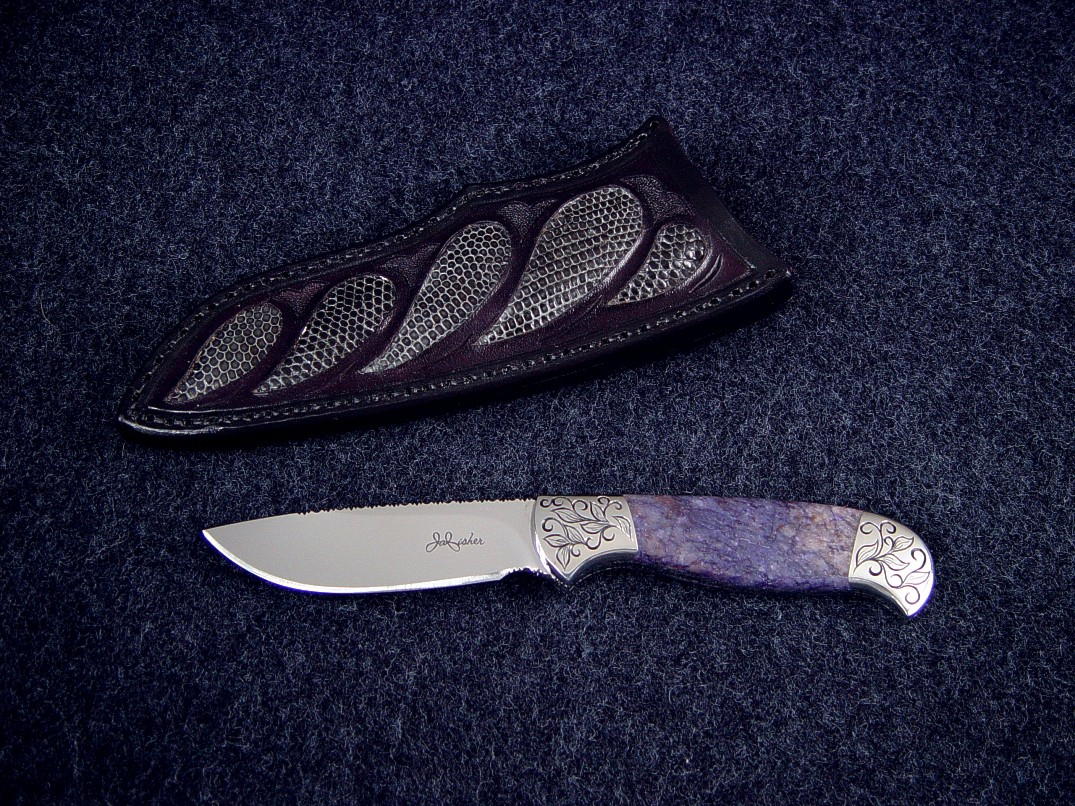 """Aurora"" (Obverse View) 440C stainless steel blade, hand-engraved 304 stainless steel bolsters, Dumortierite Gemstone handle, gray lizard skin inlaid in leather sheath"