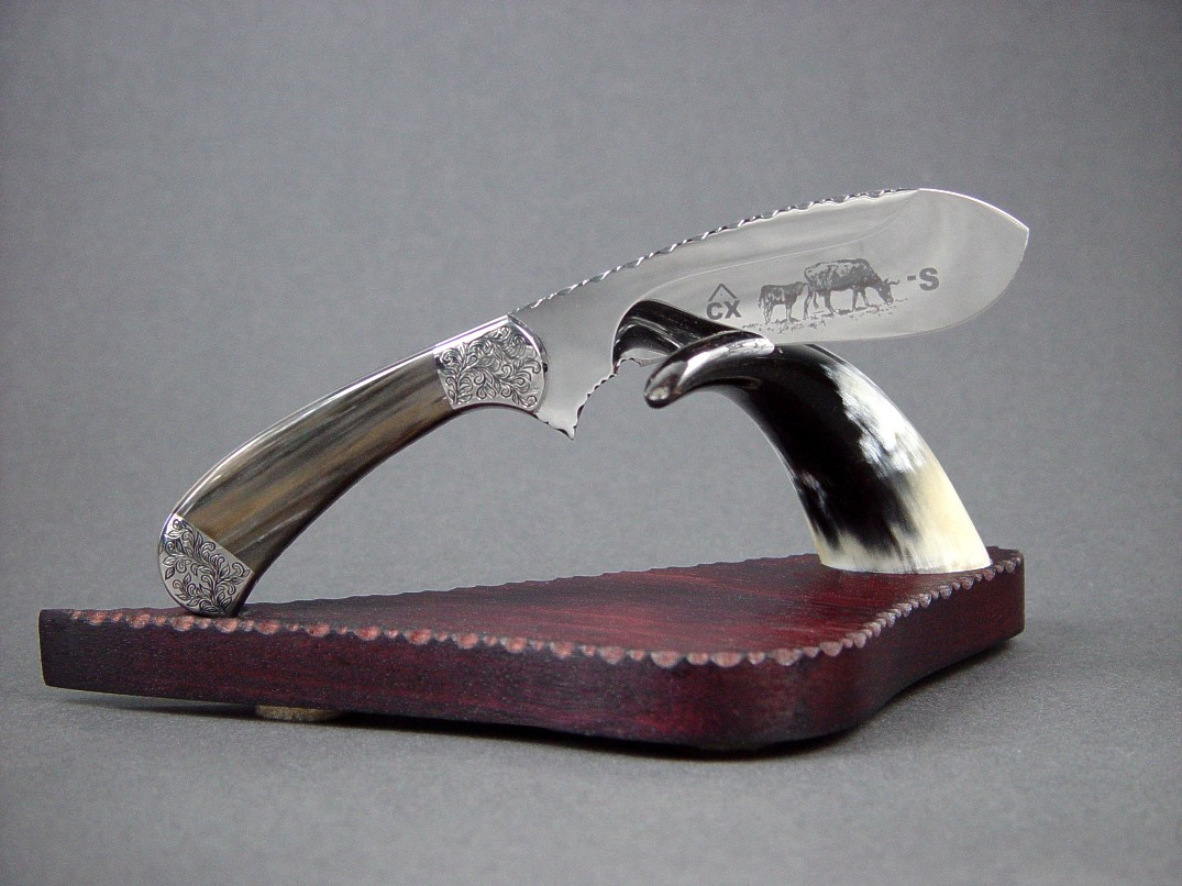 The Cattleman in etched 440C high chromium stainless steel blade, hand-engraved 304 stainless steel bolsters, Agatized Petrified Wood gemstone handle, on stand of polished cow horn, purpleheart (Amaranth) hardwood