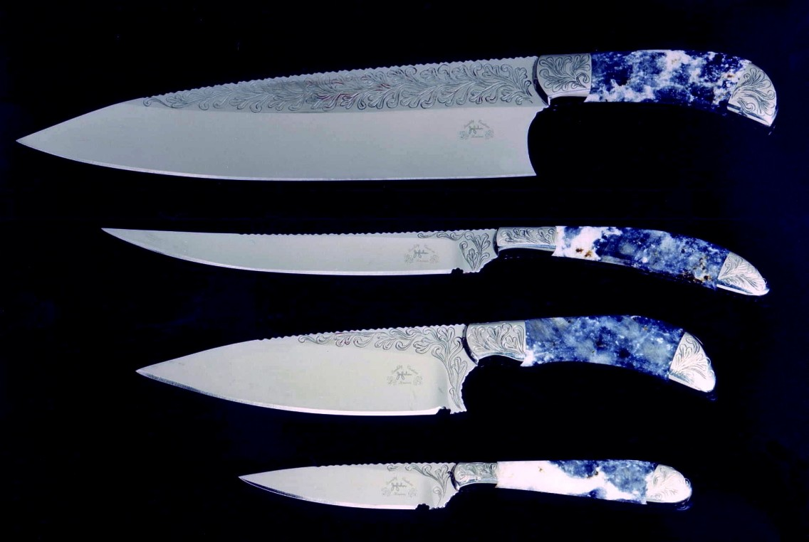 Early chef's knife set. Top to bottom: French Chef's sabatier, slender Boning knife, La Cocina, and Paring knife blades for the kitchen and chef