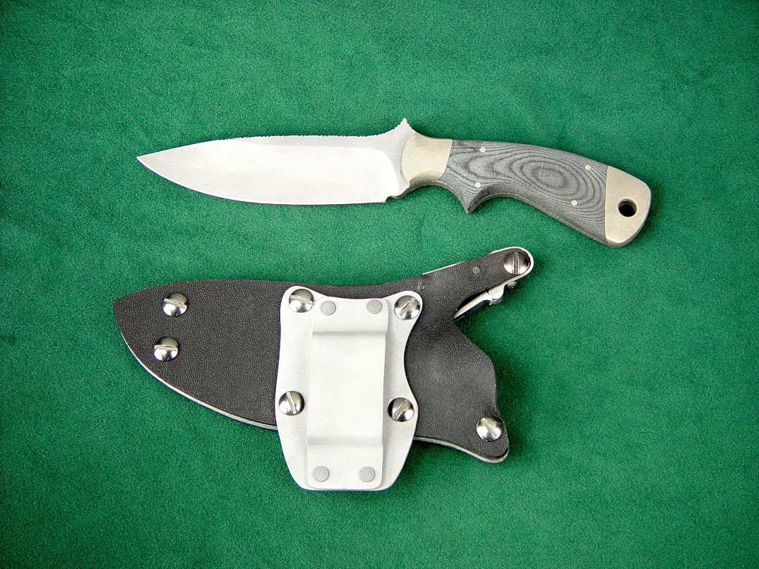 """Creature"" tactical combat, CSAR knife, bead blasted 440C high chromium stainless steel blade, 304 ss bolsters, canvas micarta phenolic handle, locking kydex, aluminum, stainless steel sheath with horizontal belt loop plate"