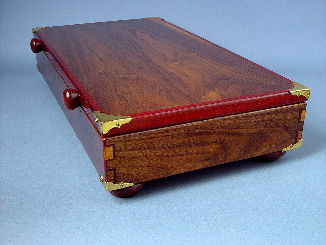 """Duhovni Ratnik"" case side view. Elegant case is finished in penetrating oils, tung oil, and varnish"