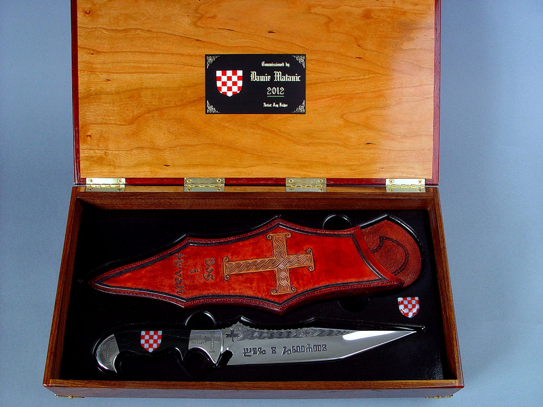 """Duhovni Ratnik"" in case view. Case interior is Cherry hardwood and Ebonized Poplar, varnished and sealed, with Engraved brass and lacquered aluminum nameplate."
