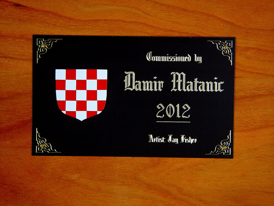 Engraved Black, red, white lacquered brass and aluminum nameplate on Cherry hardwood, Duhovni Ratnik interior with Croatian Coat of arms
