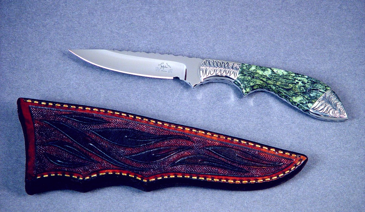 """Durango"" in 440C high chromium stainless steel blade, hand-engraved 304 stainless steel bolsters, Bird's eye serpentine gemstone handle, hand-carved leather sheath, with custom display case"