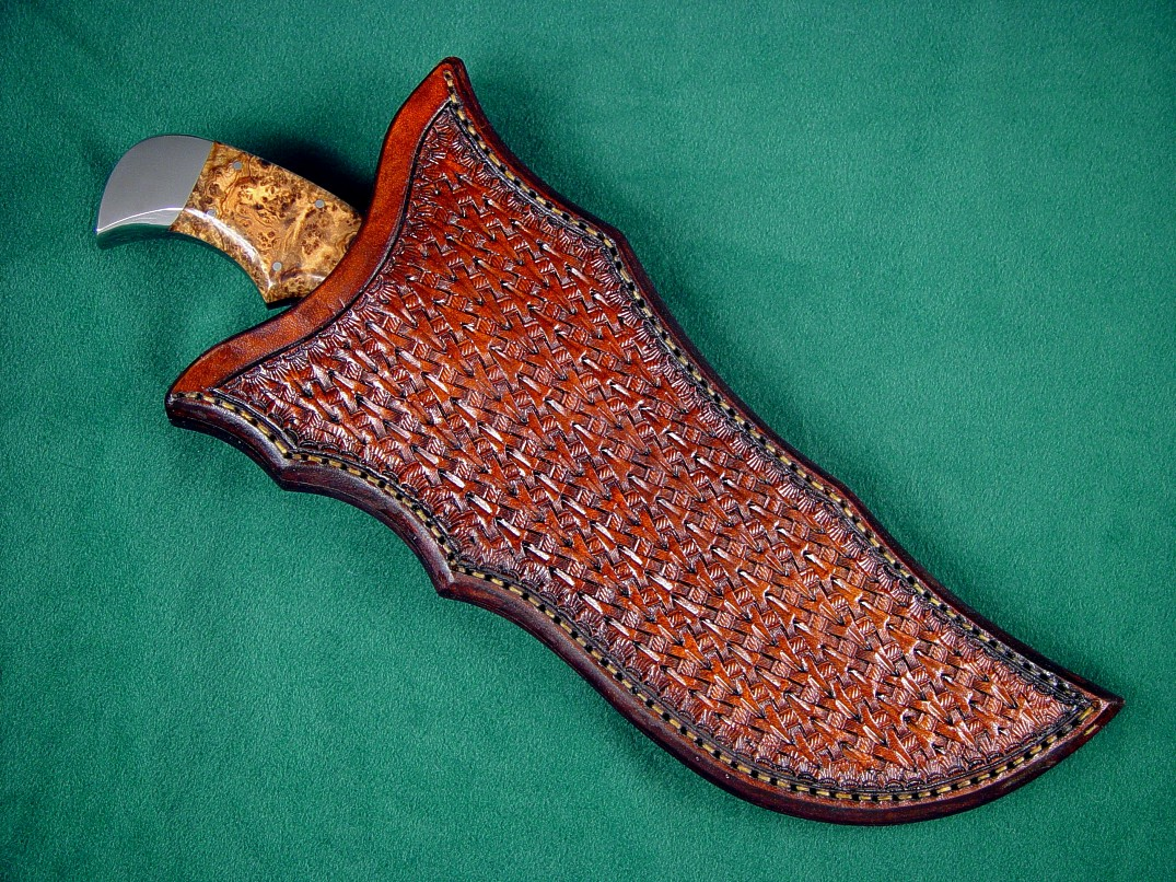 "Complex ""weave and tucked"" basketweave hand stamped leather sheath on ""Flamesteed"" knife"