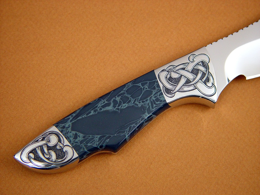 """Furud"" in 440C high chromium stainless steel blade, hand-engraved 304 stainless steel bolsters, Spiderweb Obsidian gemstone handle, Shark skin inlaid in hand-carved leather sheath"