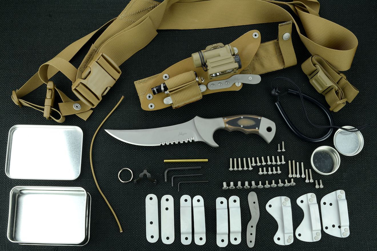"""Ghroth"" tactical combat knife, obverse side view with accessories: tension-locking sheath, Ultimate Belt Loop Extender, sharpener, Lamp independent mount assembly with Maglite solitaire, Streamlight Sidewinder Compact II flashlight, lanyards, hardware, variable mounting straps and clamps, sternum harness, hardware"