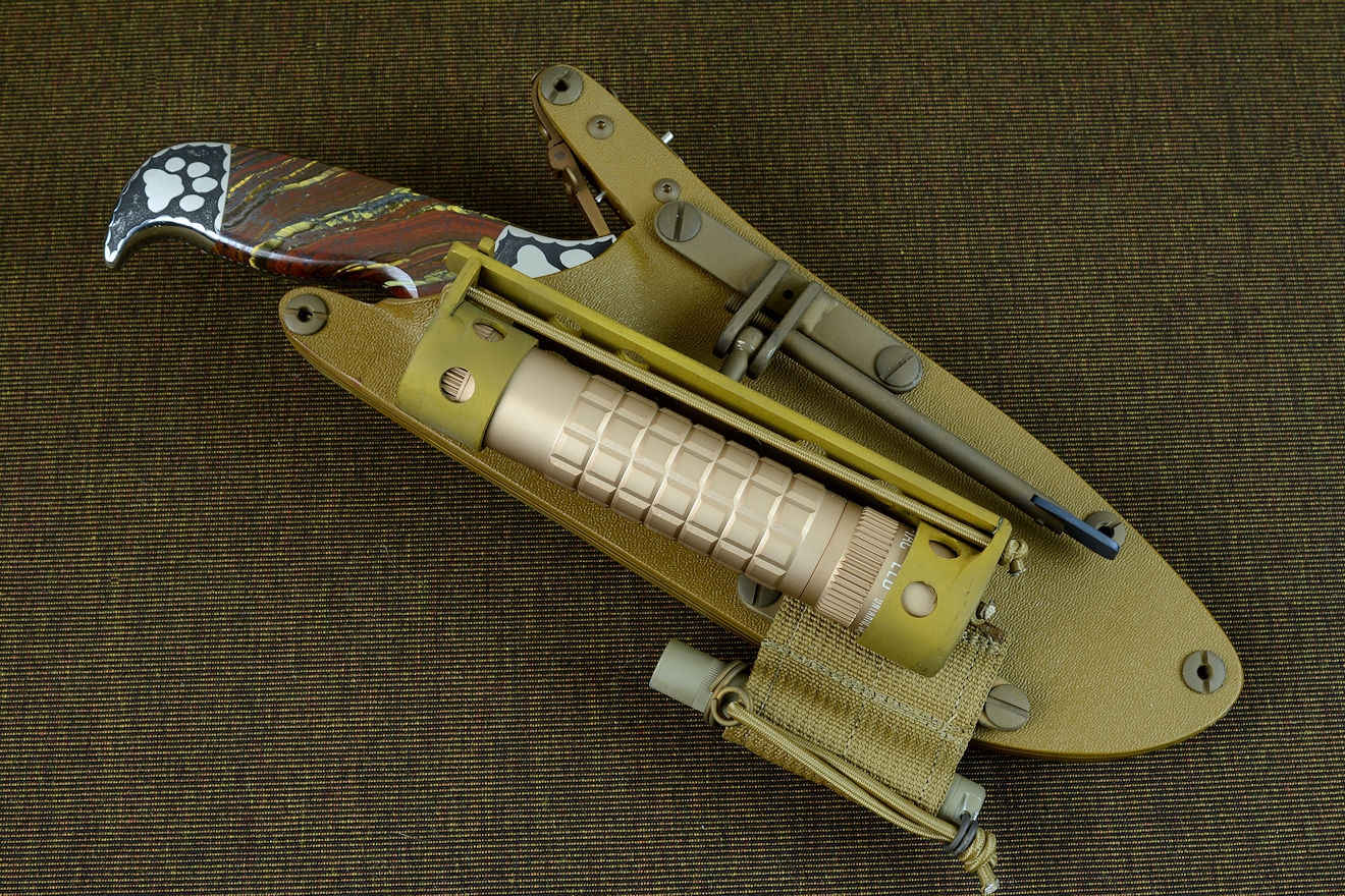 """Hooded Warrior"" coyote tan locking sheath with HULA and LIMA accessories"