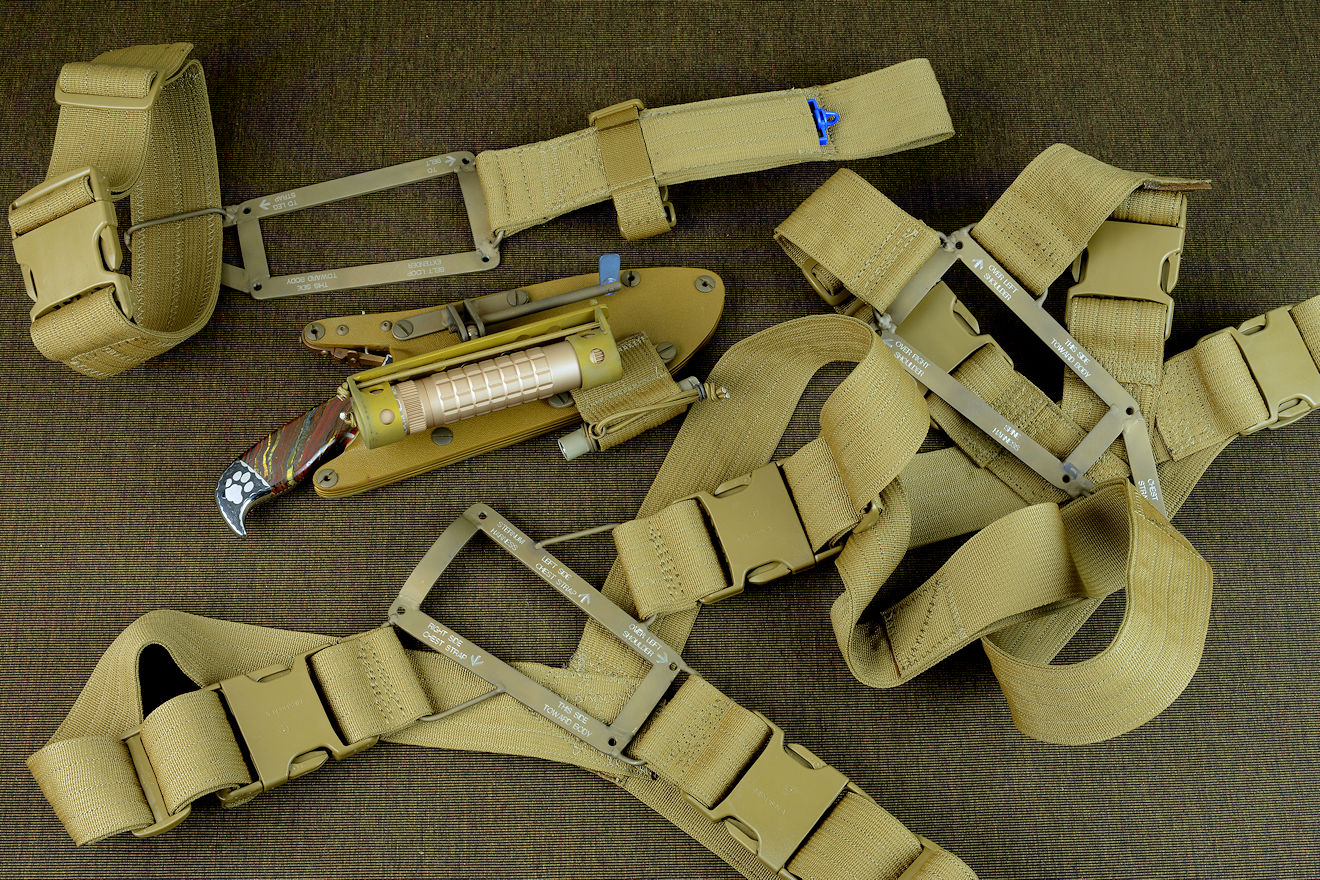 """Hooded Warrior"" modular sheath wear system components in coyote tan: sternum  harness, spine harness, belt loop extender"