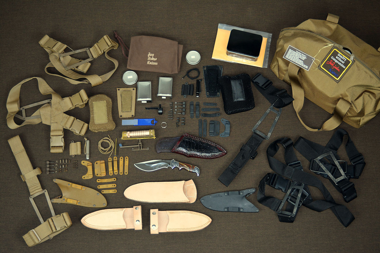 """Hooded Warrior"" counterterrorism complete knife package and kit, full accessories, and multiple sheaths"