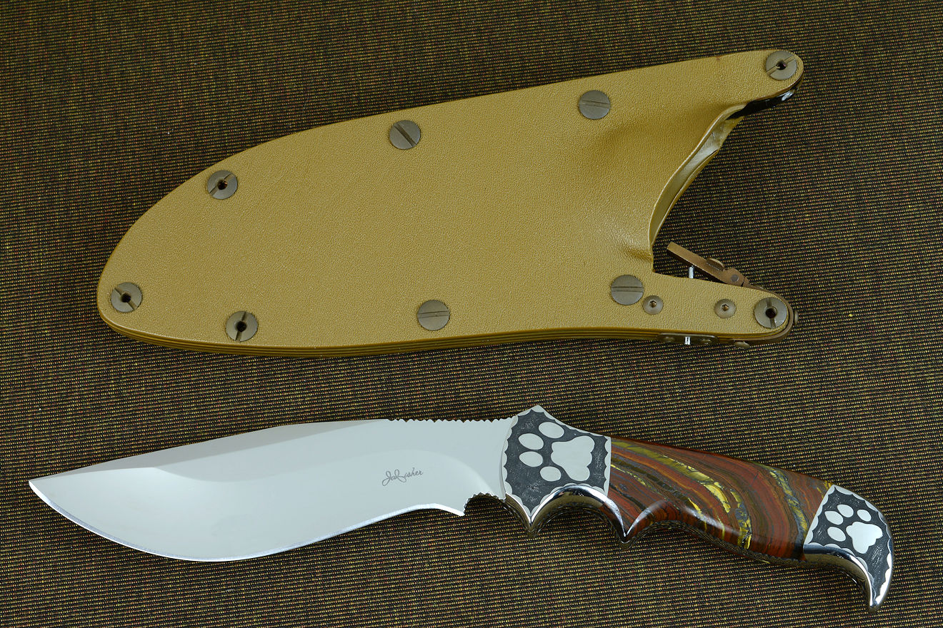 """Hooded Warrior"" obverse side view with coyote locking sheath"