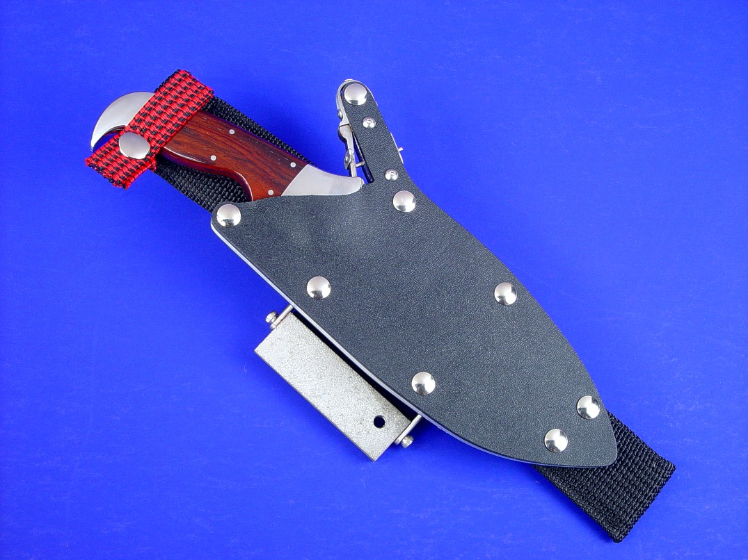 """Hooded Warrior"" tactical, combat knife with ultimate sheath belt loop extender option"