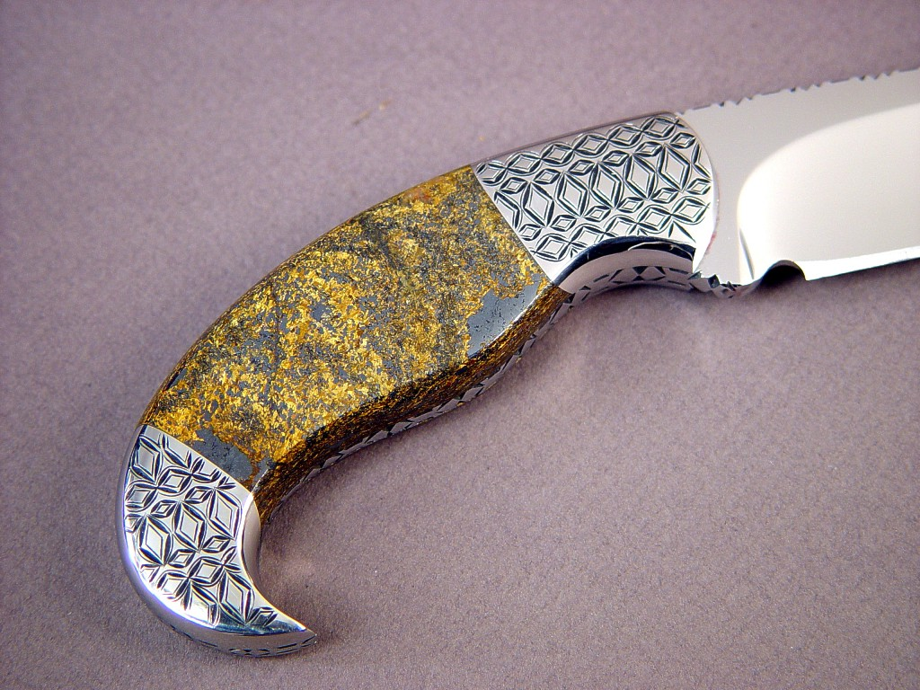 "Bronzite Hypersthene gemstone knife handle on ""Iraca"" by Jay Fisher"