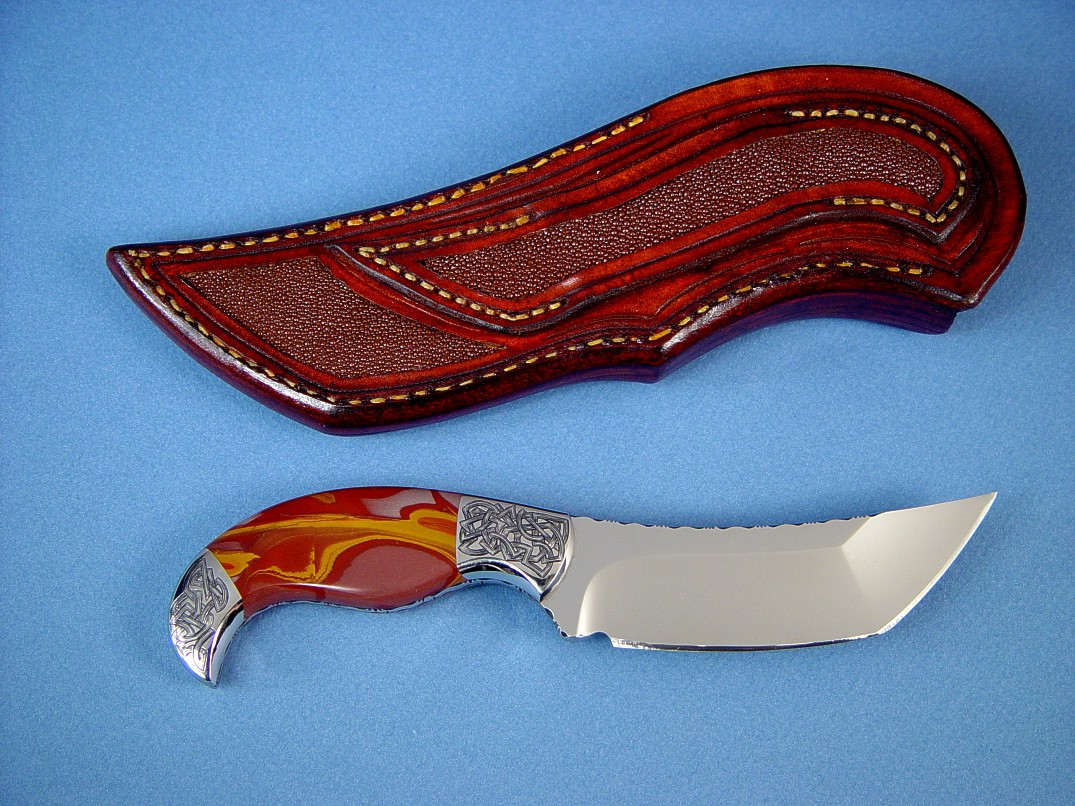 """Izanagi"" fine handmade knife, reverse side view: 440C high chromium stainless steel blade, hand-engraved 304 stainless steel bolsters, Noreena Jasper Gemstone  handle, Rayskin inlaid in hand-carved leather sheath"
