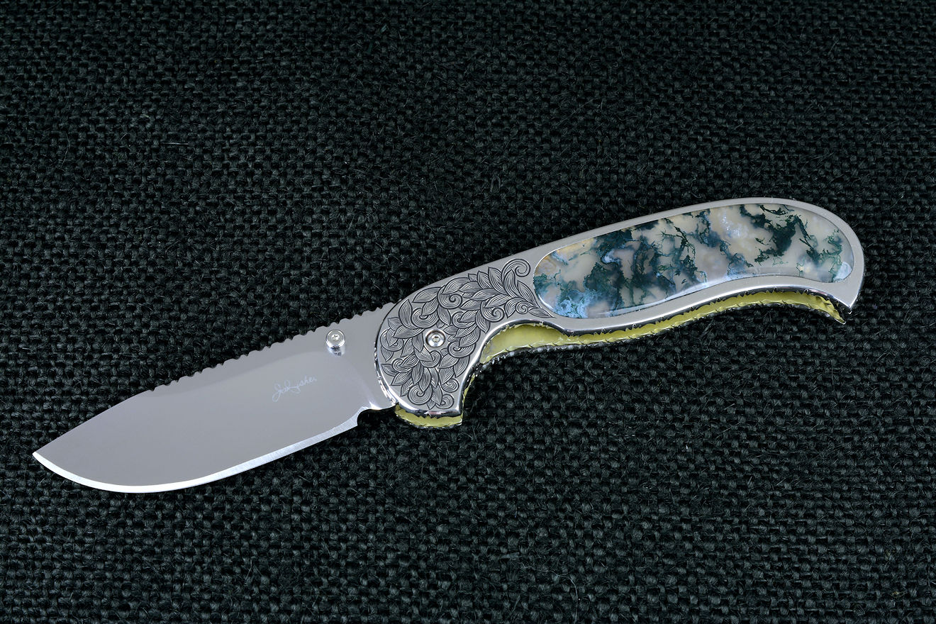 """Izar"" liner lock folding knife, obverse side view in 440C high chromium stainless steel blade, hand-engraved 304 stainless steel liners, 6AL4V anodized titanium lockplate, handle inalys of Indian Green Moss Agate gemstone"