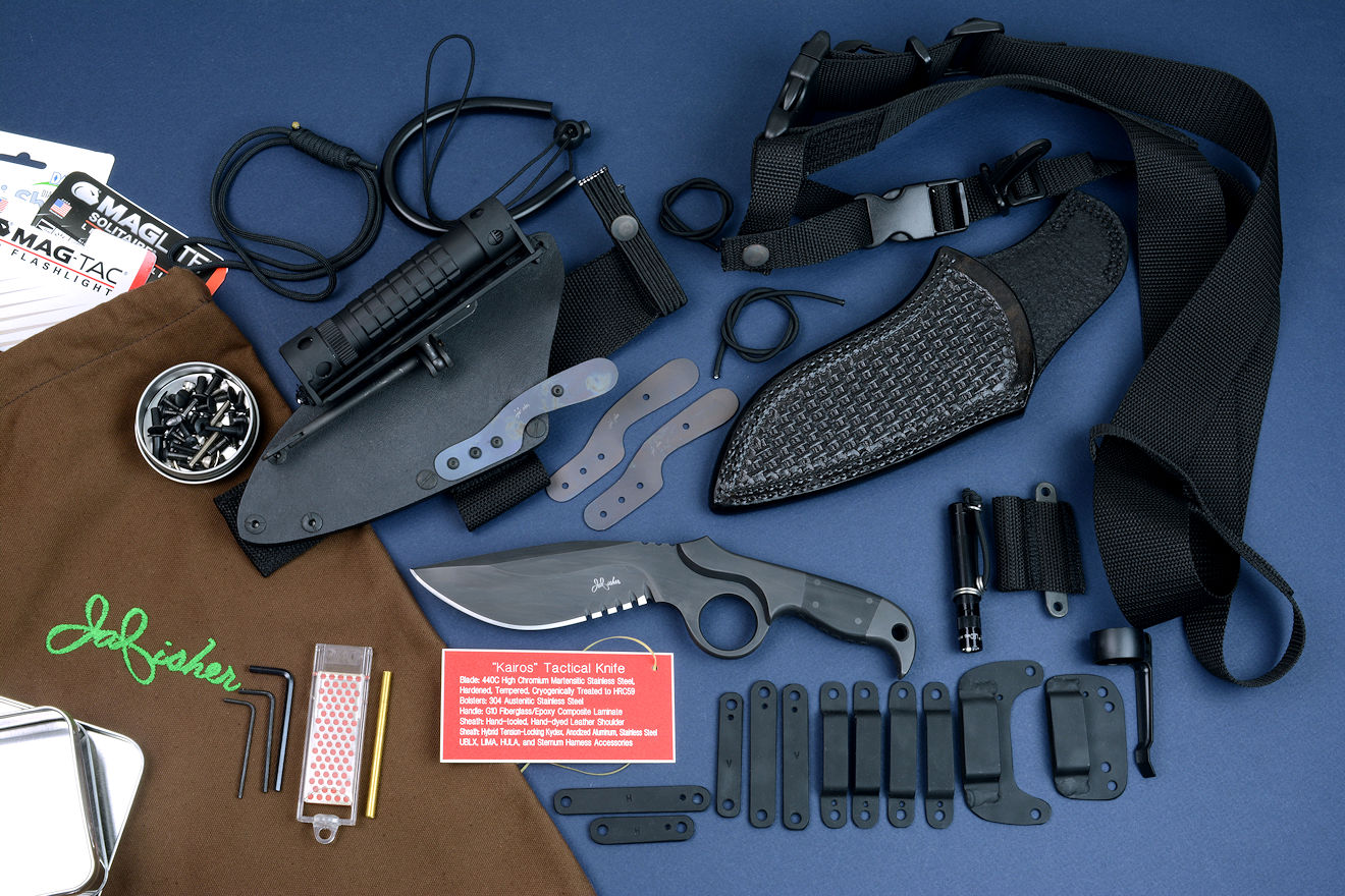 """Kairos"" combat, counterterrorism knife in 440C high chromium stainless steel blade, 304 stainless steel bolsters, G10 fiberglass/epoxy composite handle, hybrid tension-locking sheath in kydex, anodized aluminum, stainless steel with HULA, LIMA, and UBLX"