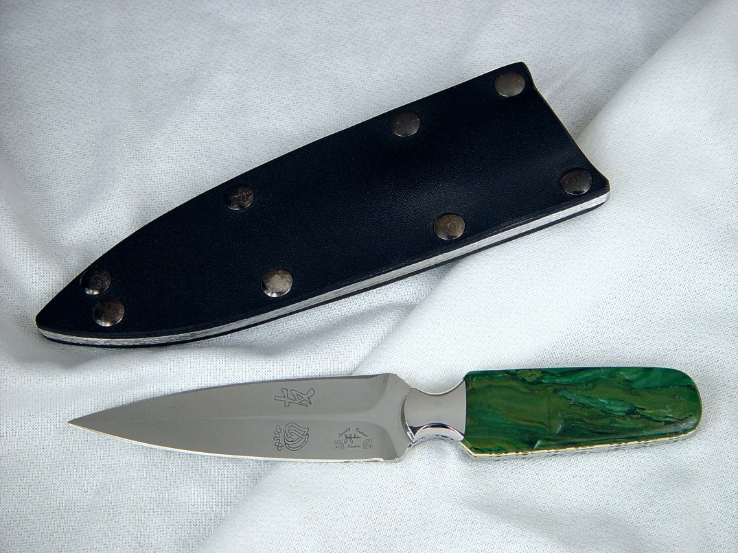 "The ""Kid"" dagger, obverse side view in custom etched 440C high chromium stainless steel blade, 304 stainless steel bolsters, Budstone (Verdite) gemstone handle, kydex, aluminum, blued steel sheath"