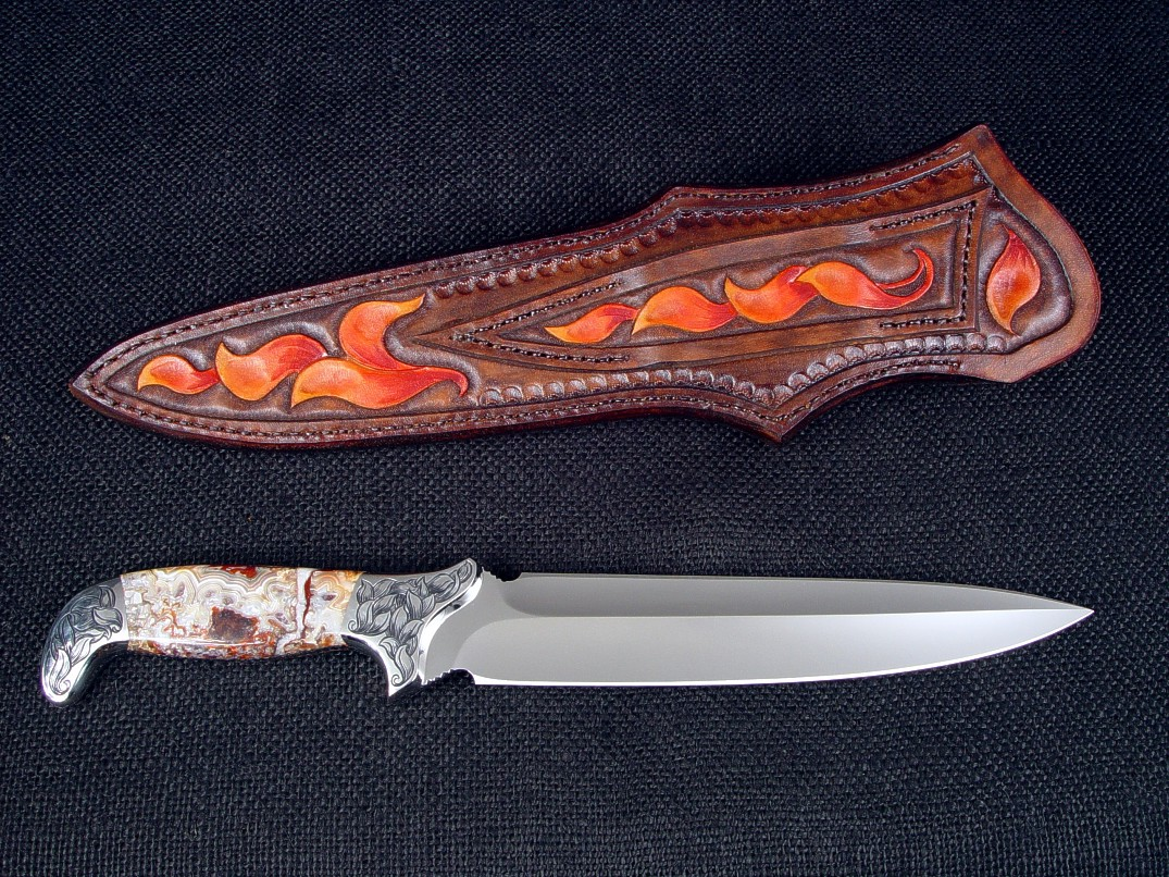 """Kotori"" in ATS-34 high molybdenum stainless steel blade, hand-engraveds 304 stainless steel bolsters, Carnival Lace Agate gemstone handle, hand-carved, hand-dyed leather sheath"