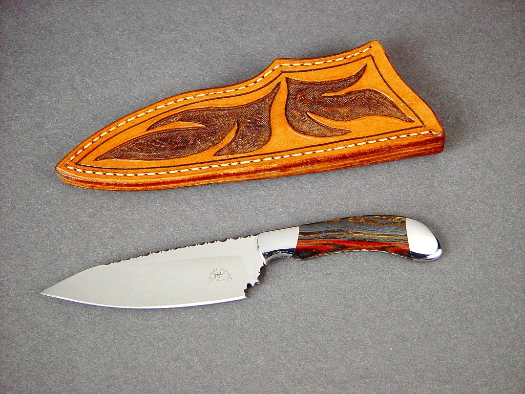 """La Cocina"" chef's knife, obverse side view in ATS-34 high molybdenum stainless steel blade, 304 stainless steel bolsters, Australian Tiger Iron Gemstone handle, hand-carved leather sheath"