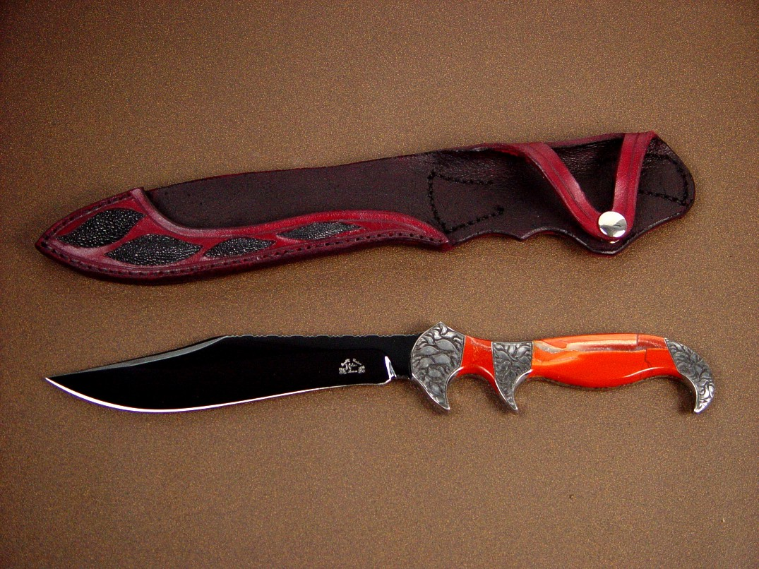 """Ladron"" in blued O-1 blade, hand-engraved steel bolsters, Red River Jasper gemstone handle, stingray skin inlaid in leather sheath"