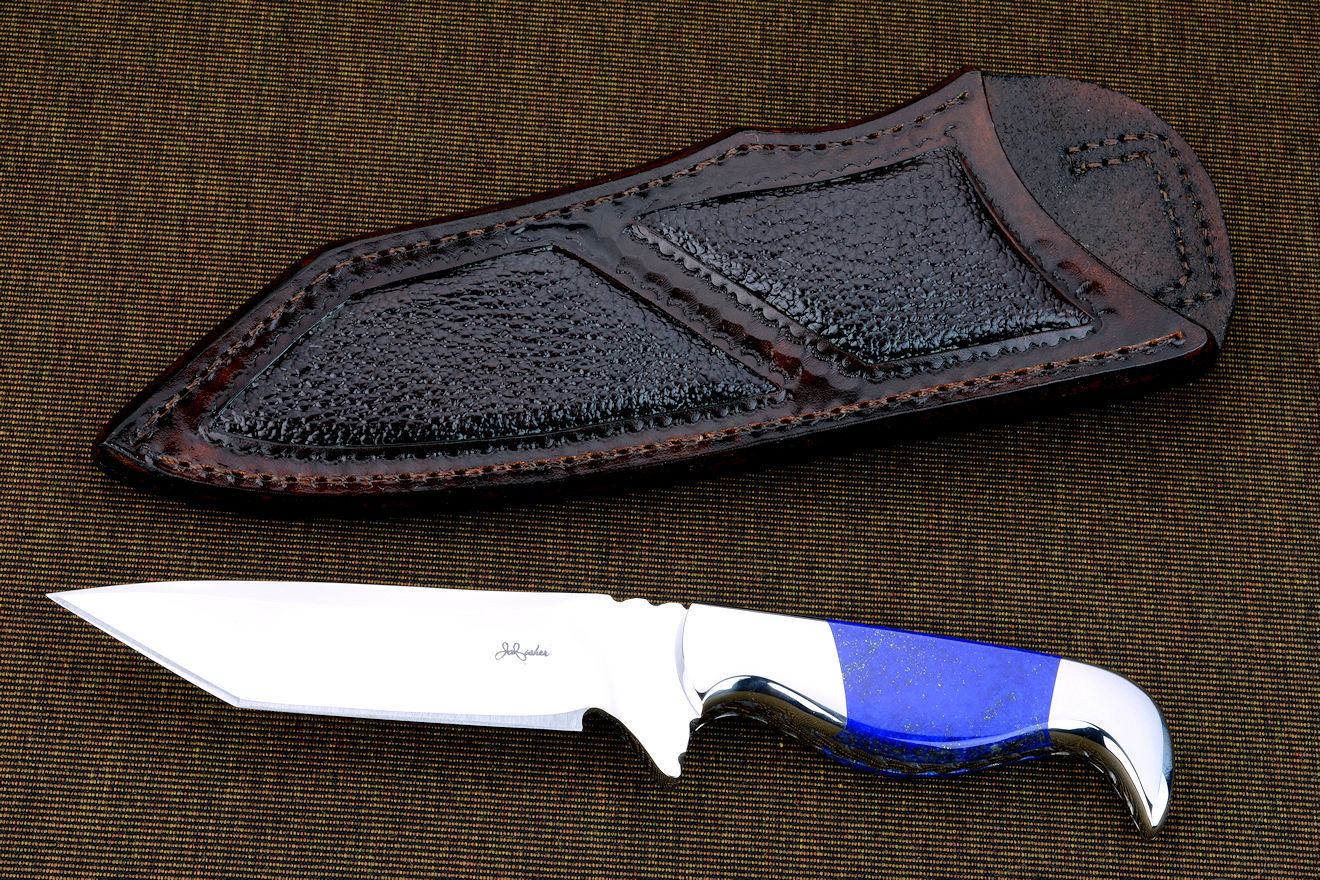 """Last Chance"" obverse side view in CTS-XHP high chromium stainless powder metal technology blade, 304 stainless steel bolsters, Lapis Lazuli gemstone handle, buffalo skin inlaid in hand-carved leather sheath"