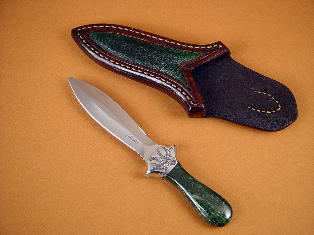 """Little Venus"" Dagger: 440C high chromium stainless steel blade, hand-engraved 304 stainless steel bolsters, Alaskan Nephrite Jade gemstone handle, frog skin inlaid in hand-carved leather sheath"