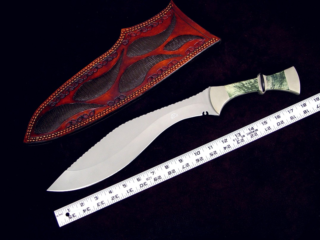 """Maginus-Nasmyth"" handmade custom khukri, obverse side view in bead blasted 440C stainless steel blade, nickel silver bolsters, Nephrite Jade gemstone, African Blackwood handle, faux lizard skin inlaid in hand-carved leather sheath"
