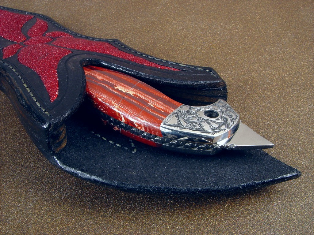 """Mercurius Magnum"" Tactical Art Knife, obverse side view: 440C high chromium stainless tool steel blade, hand-engraved 304 stainless steel bolsters, Australian Snakeskin Jasper gemstone handle, red stingray skin inlaid in hand-carved leather sheath"