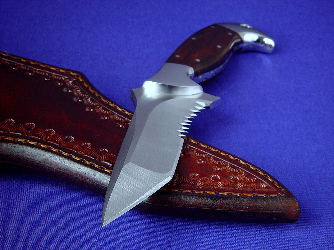 """Mercury"" obverse side view in satin finished 440C high chromium stainless steel blade, 304 stainless steel bolsters, Desert Ironwood hardwood handle, hand-tooled leather sheath"