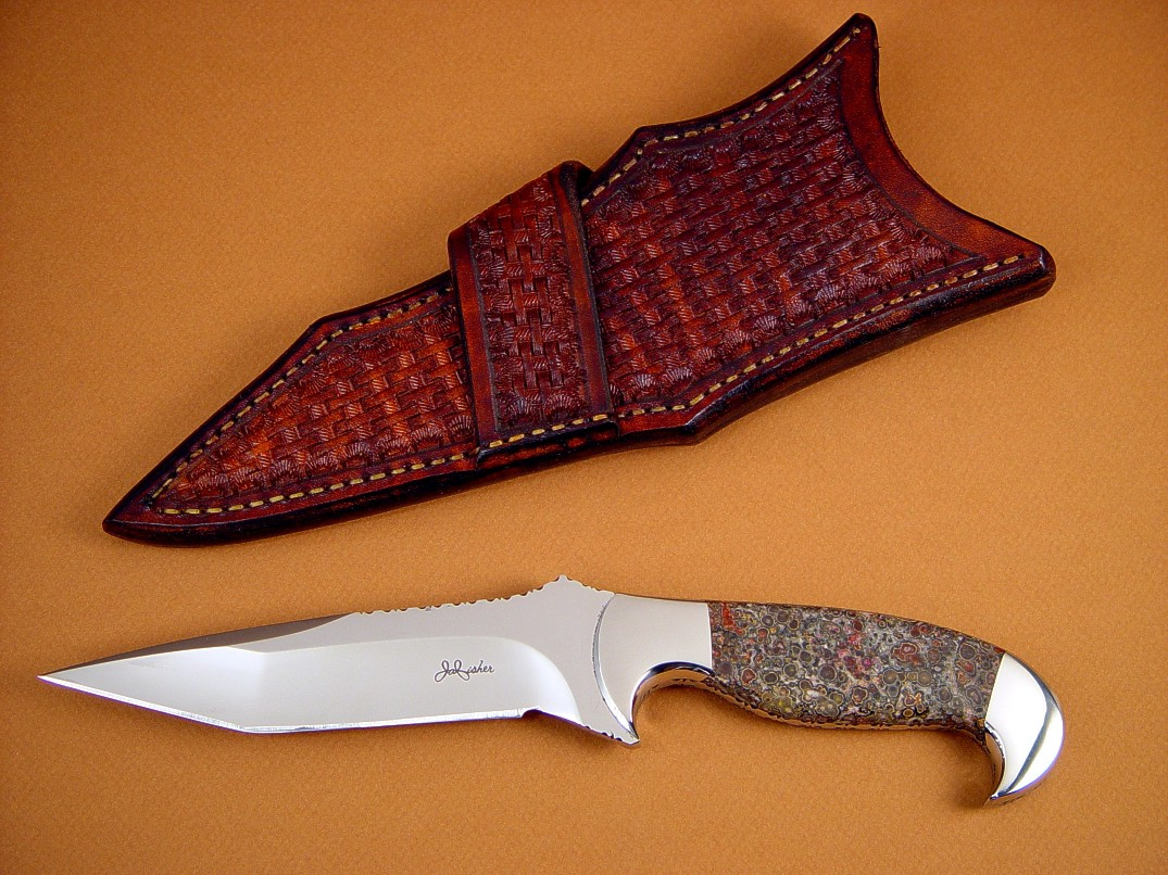 """Mercury Magnum"" 440C high chromium stainless steel blade, 304 stainless steel bolsters, Red Leopard Skin Jasper gemstone handle, hand-tooled basketweave crossdraw leather sheath"