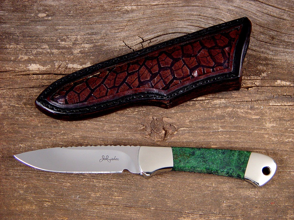 """Mirach"" in ATS-34 high molybdenum stainless steel blade, nickel silver bolsters, Migmatite Granite gemstone handle, cow stomach inlaid in hand-carved leather sheath"