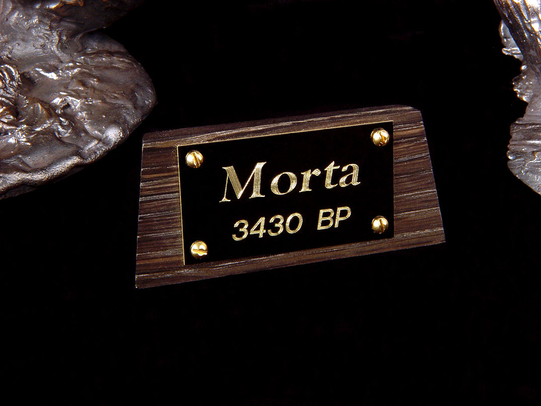 """Morta"" nameplate in 3420 year old bog oak, engraved black lacquered brass, brass screws"