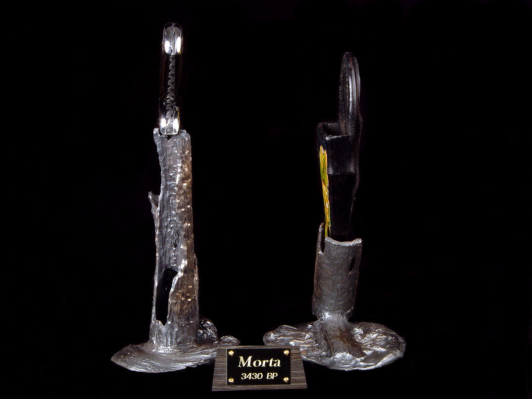 """Morta"" side view. Stands are cast in solid silicon bronze, hand-carved in wax."