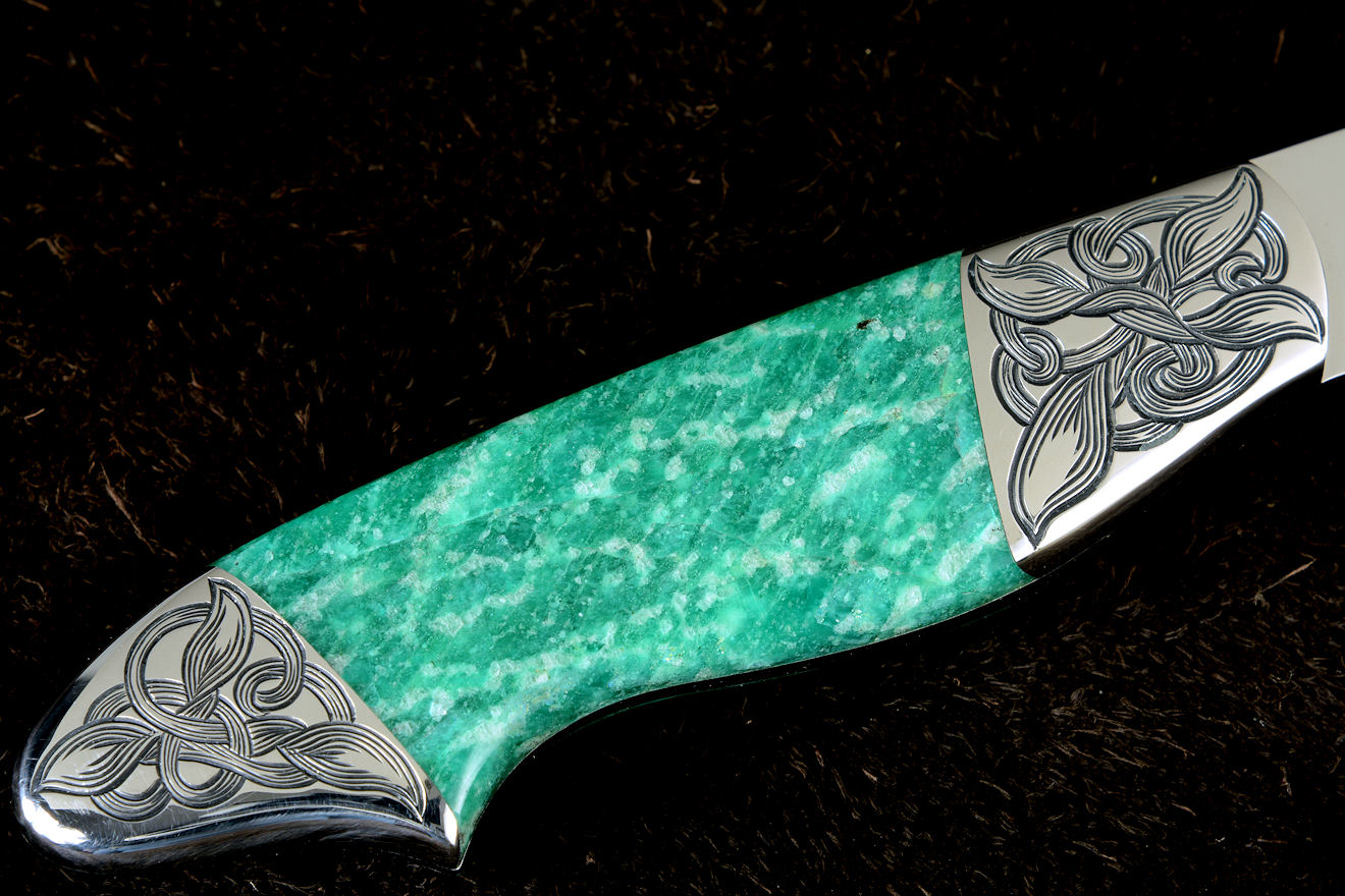"""Nihal"" obverse side view in 440C high chromium stainless steel blade, hand-engraved 304 stainless steel bolsters, Amazonite gemstone handle, hand-carved, hand-dyed leather sheath"