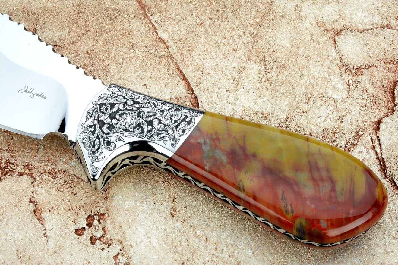 """Nunavut"" obverse side view in 440C high chromium stainless steel blade, hand-engraved 304 stainless steel bolsters, agatized, jasper petrified wood gemstone handle, hand-carved, hand-dyed leather sheath"