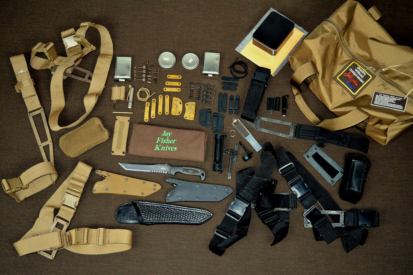 """PJ"" CSAR, combat, ct knife with complete accessory package in coyote and black, including modular sheath wear accessories"