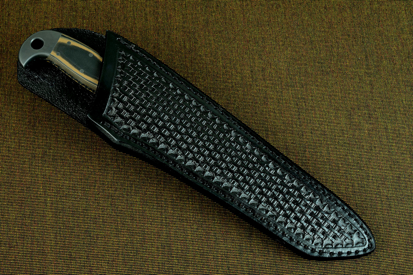 """PJ-CT"" sheathed view, heavy hand-tooled black basketweave leather sheath for traditional or quiet wear"