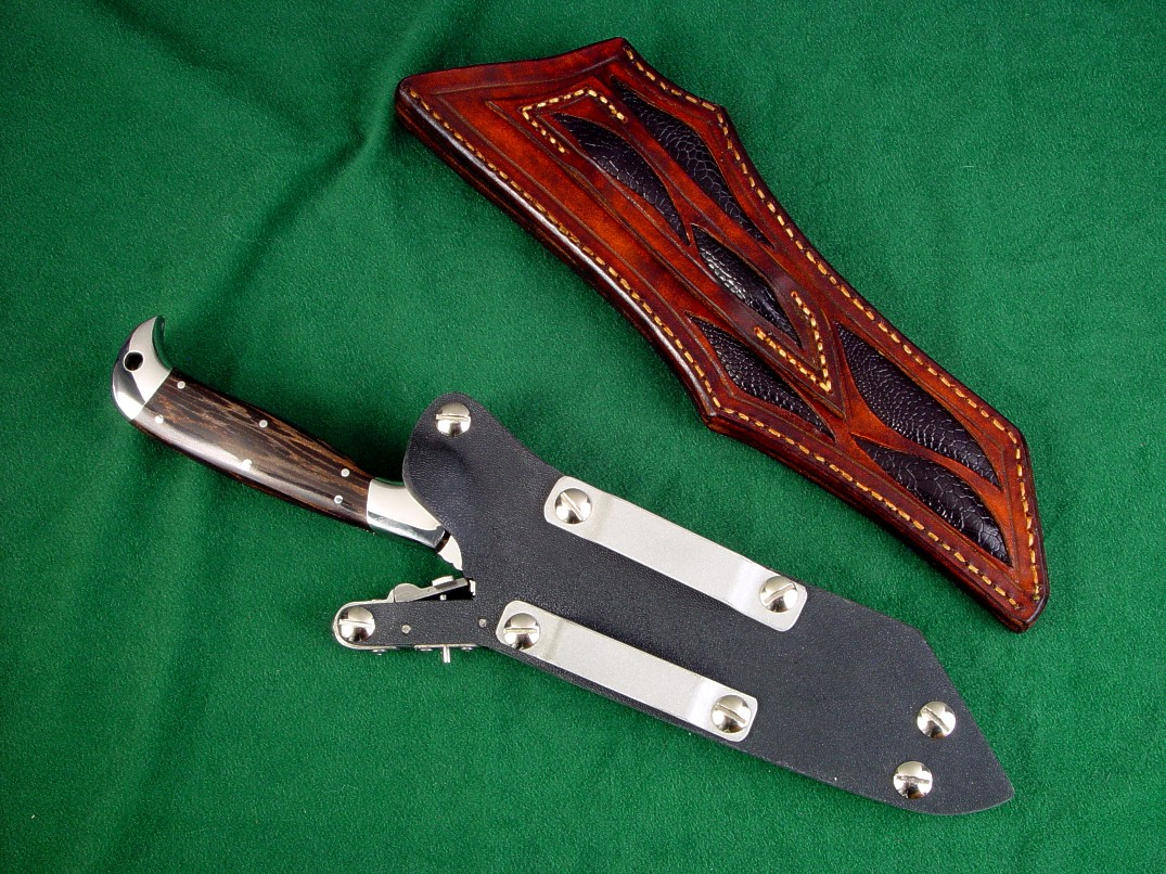 Two knife sheaths for PJLT with black palmwood handle. One is locking kydex, aluminum, and stainless steel, other is black ostrich leg skin inlaid in hand-carved leather shoulder