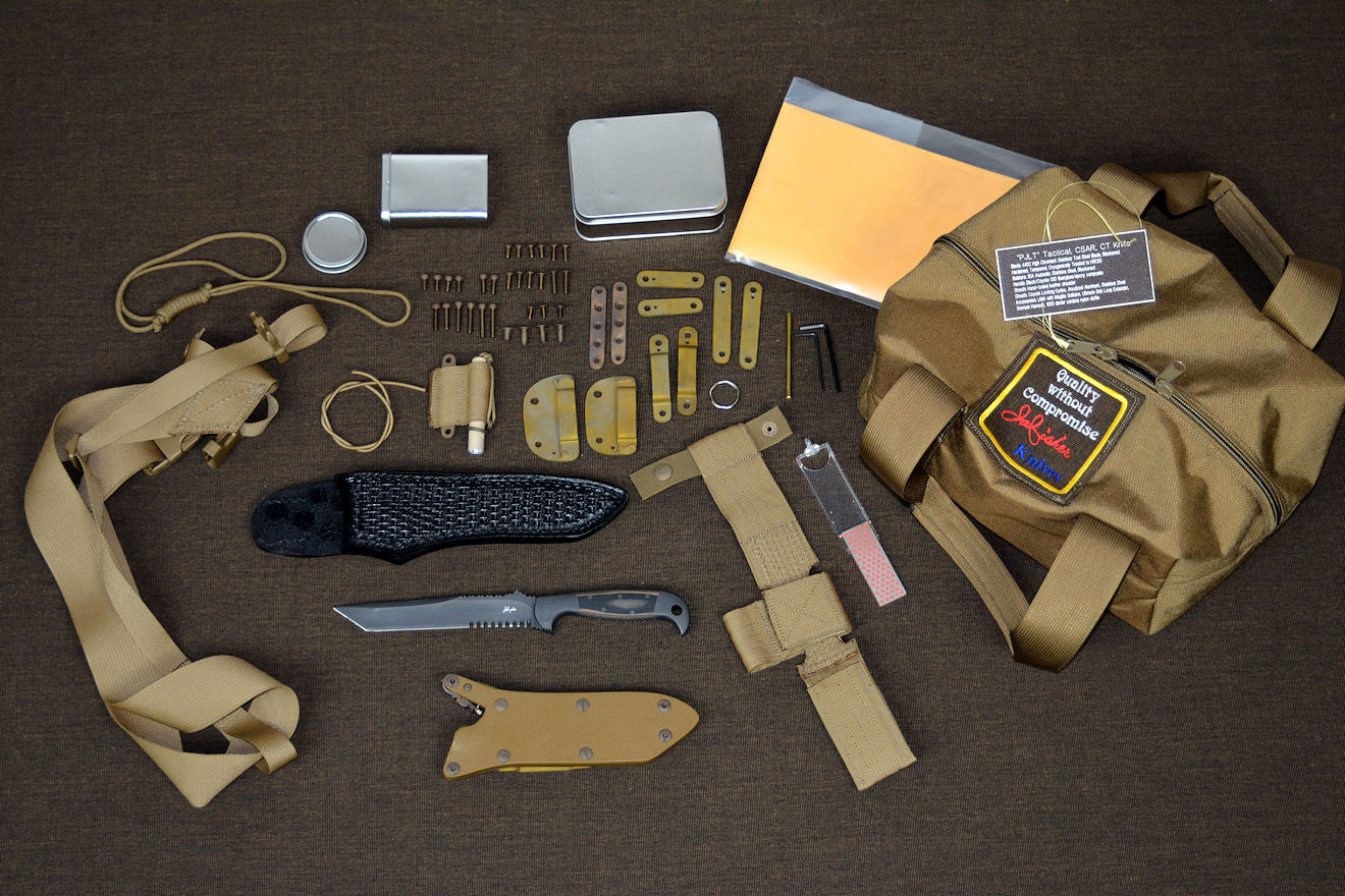 """PJLT"" tactical, combat, rescue CSAR knif and accessory kit, lightweight accessories in coyote"