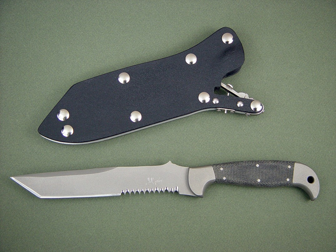 """PJLT"" CSAR knife, obverse side view: 440C high chromium stainless steel blade, 304 stainless steel boslters, canvas micarta phenolic handle, locking kydex, aluminum, stainless steel sheath"