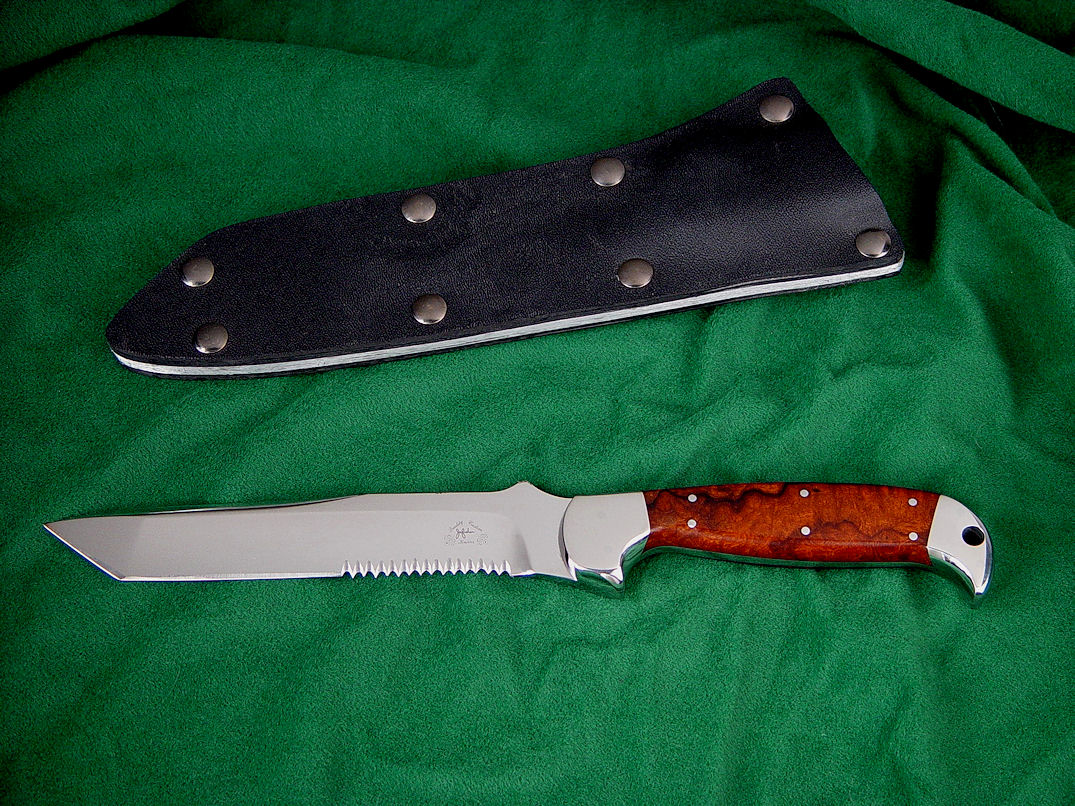 """PJLT"" Tactical knife, obverse side view in 440C high chromium stainless steel blade, 304 stainless steel bolsters, Thuya Burl exotic hardwood handle, tension fit kydex, aluminum, nickel plated steel sheath"