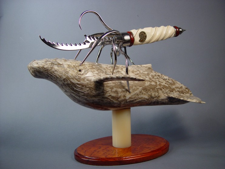 """Pacifica"" Fine knife sculpture in stainless steel, ivory, 24kt gold, nickel silver, banded jasper/hematite, pyratized ammonite fossils, brown alabaster, obsidian, bubinga hardwood, nylon"