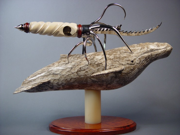 """Pacifica"" hand-carved, hand-made knife sculpture by Jay Fisher"
